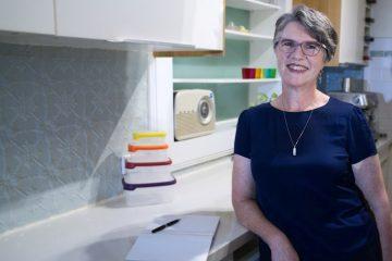 Jane Cadwgan in kitchen